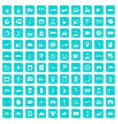 100 loader icons set grunge blue vector
