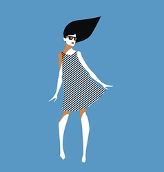 Young woman with sunglasses and striped dress vector