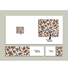 Business card collection abstract square tree vector