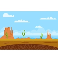 Game flat background shows desert and monument vector