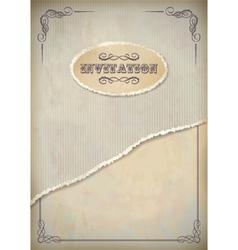 Vintage grunge invitation paper with frame vector image