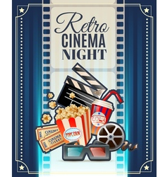 Retro Cinema Night Invitation Poster vector image