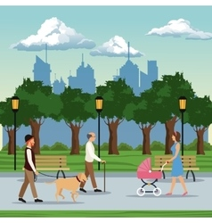 people visiting city park brench lamp postlight vector image