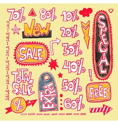 Set of hand draw discount sale sticker and tag vector