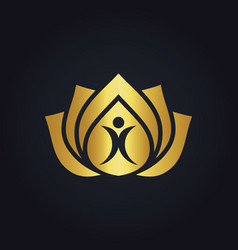 Beauty health people lotus flower gold logo vector