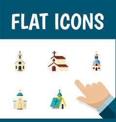 Flat icon church set of building religion vector