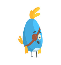 cute little blue funny chick bird with an eye vector image