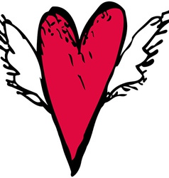 Red heart with white wings sketch doodle vector