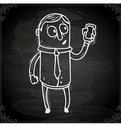 Iphone man drawing on chalk board vector
