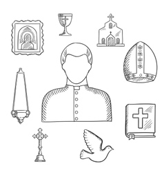 Priest and religious icons or symbols sketch vector