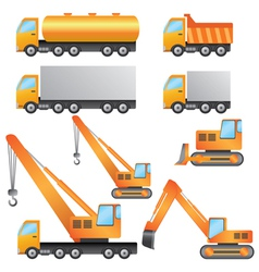 Set of construction machinery vector