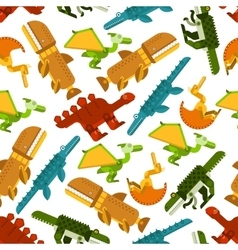 Seamless dinosaurs and prehistoric animals pattern vector