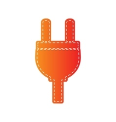 Socket sign  orange applique isolated vector