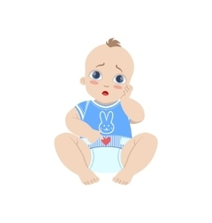 Baby in blue with dirty nappy vector