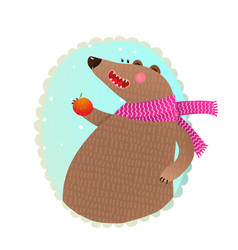 bear eating apple portrait vector image