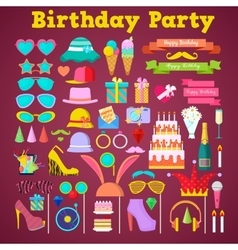 Birthday party decoration set with photo booth vector