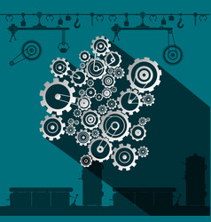 Cogs and gears in factory flat design industrial vector