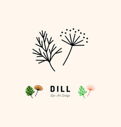 Dill icon vegetables logo fennel spice thin vector
