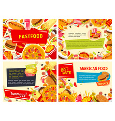 Fast food posters set for restaurant vector