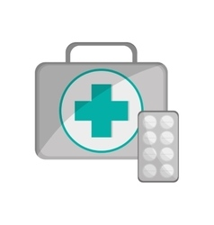First aid kit and medicine tablets icon vector