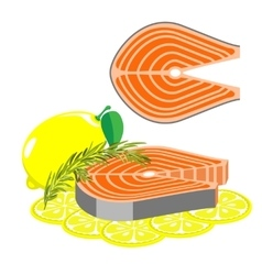 Fish with rosemary and lemon vector image