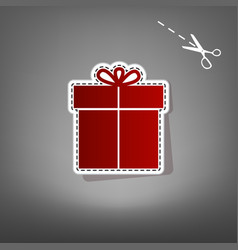 Gift sign red icon with for applique from vector