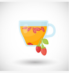 goji berries tea flat icon vector image vector image