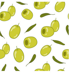 Green olives seamless pattern food background vector