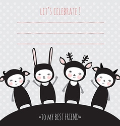greeting card with funny kids monsters party vector image vector image