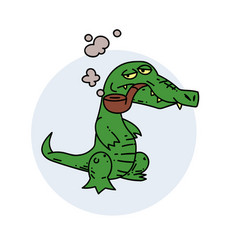 grumpy crocodile smoking pipe vector image