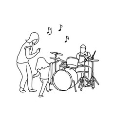Man playing drum and his wife and girl dancing vector