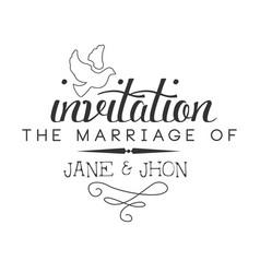 Marriage black and white invitation card design vector