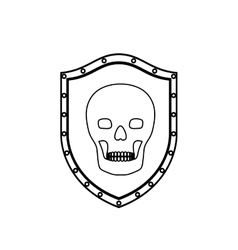 Monochrome silhouette with shield with skull vector