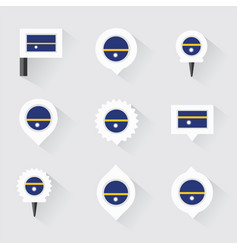 nauru flag and pins for infographic and map design vector image