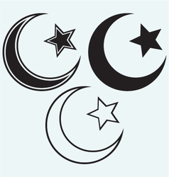 Religious Islamic Star and Crescent vector image vector image