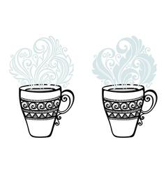 Set of Decorative Cups of Tea vector image