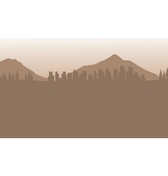 Silhouette of city and mountain with brown vector image vector image