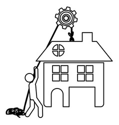 Silhouette workers with pulley holding big house vector