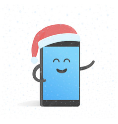 Smartphone new year concert in santa hat cute vector