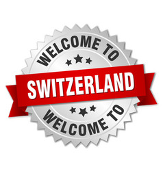 Switzerland 3d silver badge with red ribbon vector