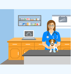 Veterinarian doctor holds dog on examination table vector