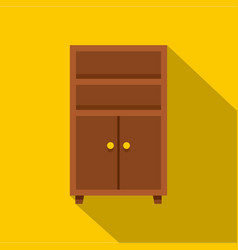 Wooden cabinet icon flat style vector