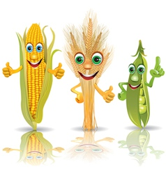 Funny vegetables corn ears of corn peas vector