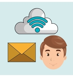 Man cloud wi-fi apps vector