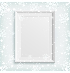 White picture frame on winter background vector