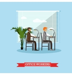 Office workers and business people work with vector