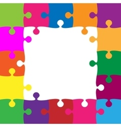 Color puzzles pieces - jigsaw frame - 25 vector