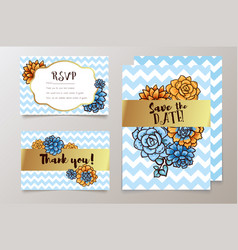 Trendy card with succulent for weddings save the vector