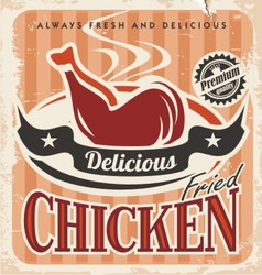 Vintage fried chicken poster design vector image