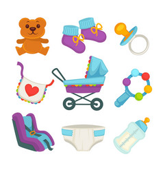 Baby things and clothes colorful poster on white vector